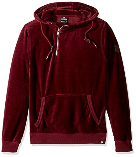 (Southpole Men's Long Sleeve Pull Over Hooded Fleece in Premium Solid Velour, Burgundy, Small)