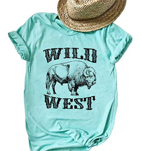 BANGELY Funny Wild West Ox Print Short Sleeve T-Shirt for Women Graphic Harajuku Tees Summer Casual Vacation Shirts Tops Blue