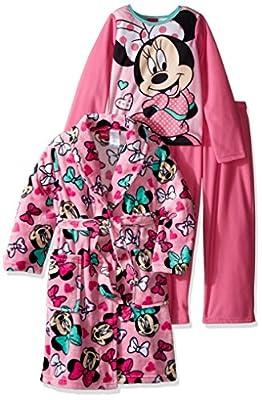 Disney Girls' Minnie Mouse 3-Piece Pajama Set with Robe