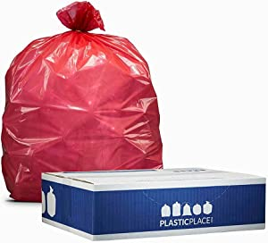 """Plasticplace T55120RD 55-60 Gallon Trash Bags ¦ 1.2 Mil ¦ Red Heavy Duty Garbage Can Liners ¦ 38"""" x 58"""" (50 Count), 250 (Pack of 1)"""