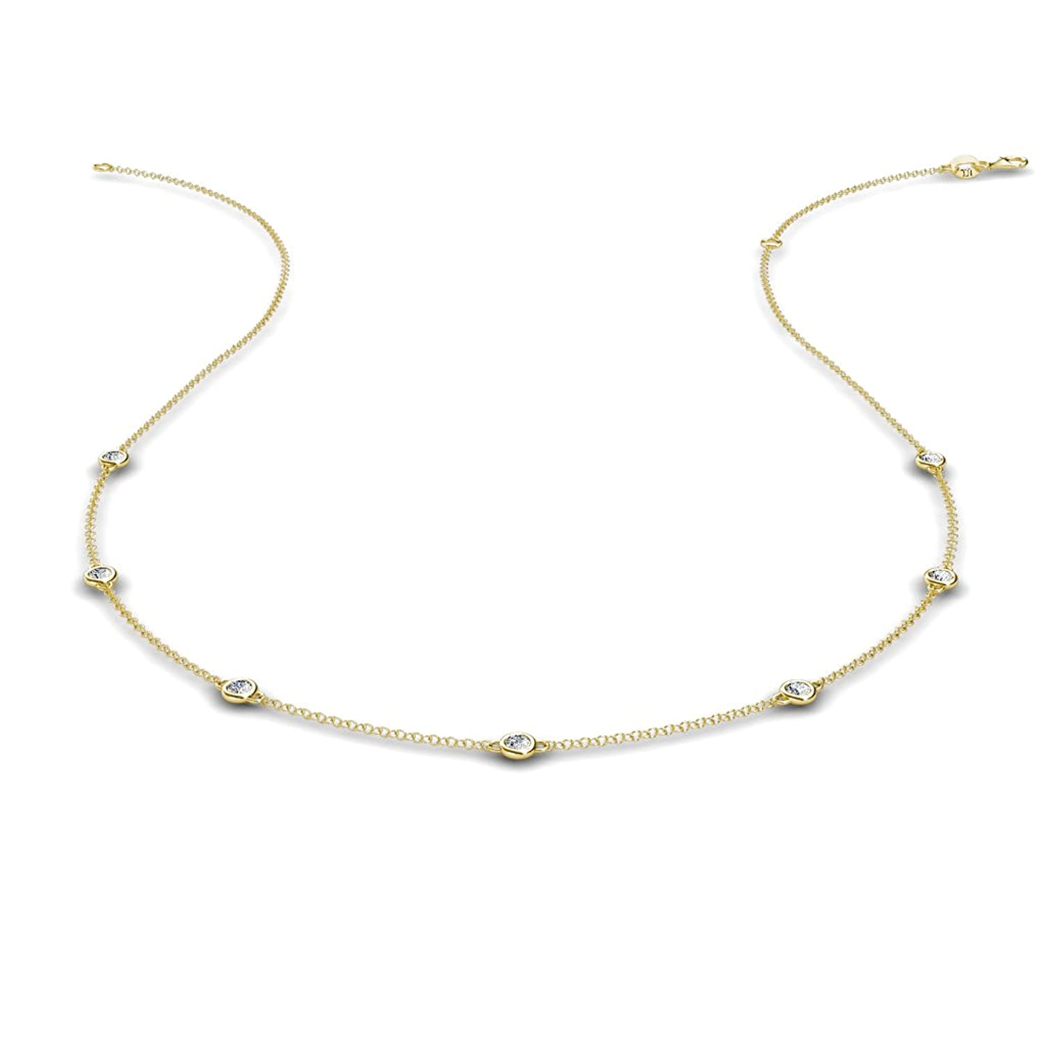 Petite Diamond by the Yard 7 Stations Necklace (SI2-I1-Clarity, G-H-Color) 0.19 ct tw in 14K Yellow Gold