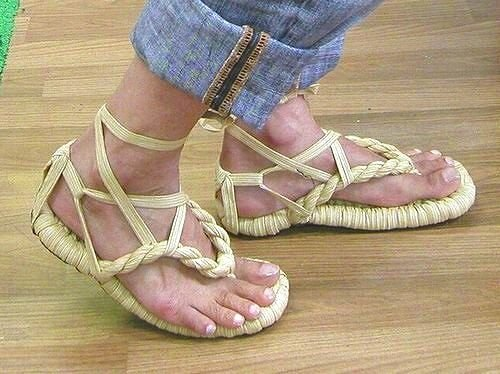 String with straw sandals straw color (beige support from the cage) M size (japan import) hvqp440