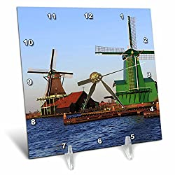 3dRose Danita Delimont - Windmills - Famous windmills of Zaanse Schans, just outside of Amsterdam, Holland - 6x6 Desk Clock (dc_257780_1)
