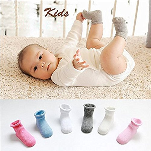 6MILES Newest Design 6 Pairs Cotton Baby Socks Different Style Color Cute Toddler Non-Skid Crew Walkers with Grip for Unisex Kid Boy Girl Stocking Halloween Christmas Birthday Gift Set(12-36 Months)