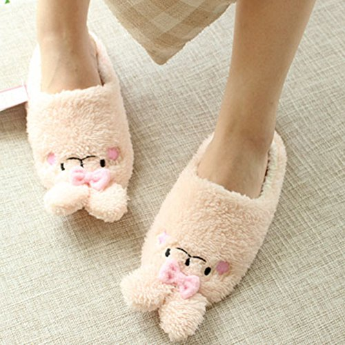 Beacon Womens Anti Plush Pet House Fun Shoe Slippers Rabbit Slippers Slip Pink Indoor Slippers Warm Fuzzy House rqHr5xwP0