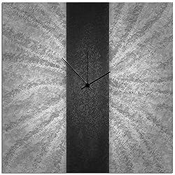 Metal Art Studio 'Black Stripe Clock' Contemporary Metal Wall Clock