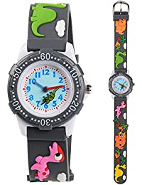 Venhoo Kids Watches 3D Cute Cartoon Waterproof Silicone Children Toddler Wrist Watches Time Teacher Gift for Boys Little Child (Gray Cute Dinosaur)