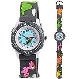 Venhoo Kids Watches 3D Cute Cartoon Waterproof Silicone Children Toddler Wrist Watches Time Teacher Gift for Boys Little Child (Gray Cute Dinosaur)