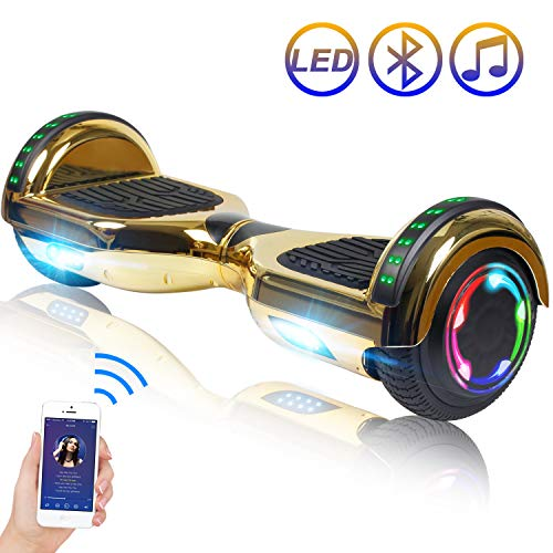 "Hoverboard Self Balancing Scooter 6.5"" Two-Wheel Self Balancing Hoverboard with Bluetooth Speaker and LED Lights Electric Scooter for Adult Kids Gift UL 2272 Certified Plating Dazzle Series - Gold"