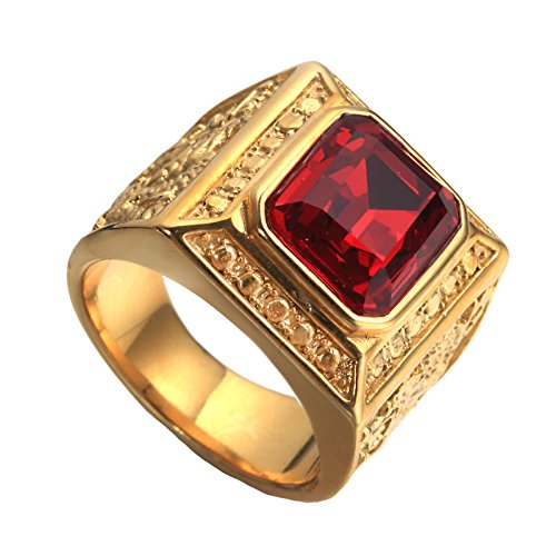 PAURO Men's Stainless Steel Vintage Golden Square Ring Chinese Style Domineering Dragon with Big Stone Red Size 7