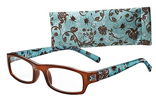 ICU Fun Medium Rectangle Reading Glass with Brown Face, Blue