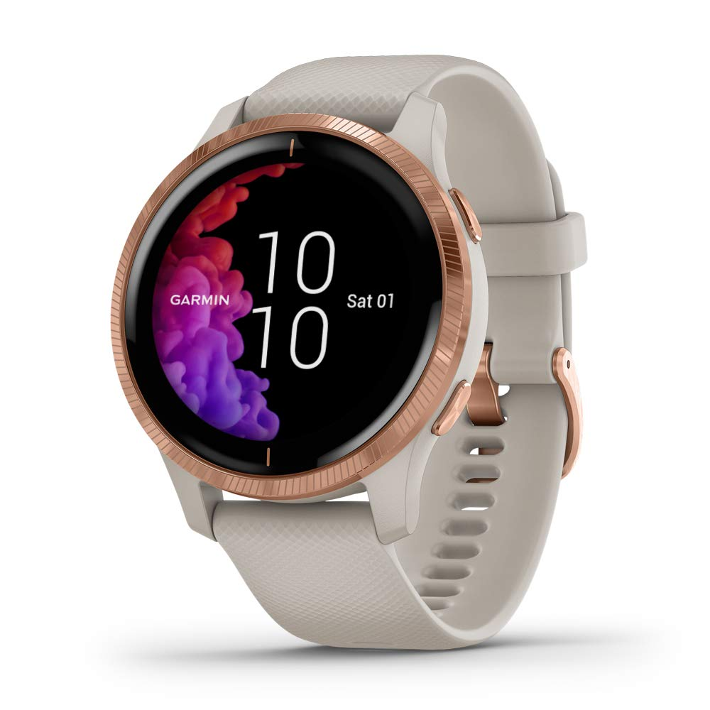 Garmin Venu, GPS Smartwatch with Bright Touchscreen Display, Features Music, Body Energy Monitoring, Animated Workouts, Pulse Ox Sensor and More, Rose Gold with Tan Band by Garmin
