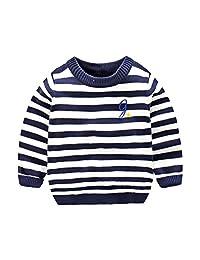 SPRMAG Little Boy Knit Crew Neck Long Sleeve Wool Sweater Pullover Stripe