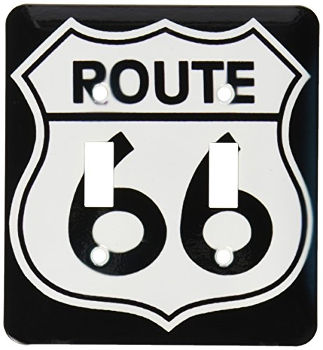 (3dRose lsp_110012_2 Route 66, Black and White Double Toggle Switch)