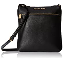Michael Kors Riley Leather Flat Crossbody Black …