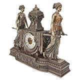 French Maidens Faux Bronze Sculptural Mantel Clock