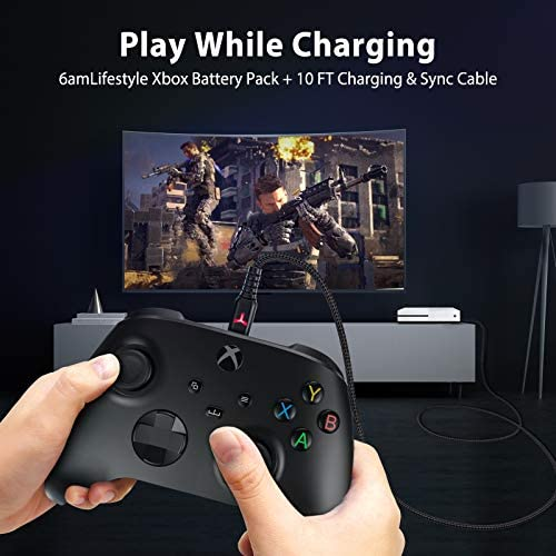Rechargeable Controller Battery Pack for Xbox Series X|S and Xbox One with 10FT USB C Charging Cable and Micro USB Adapter 6amLifestyle Battery Pack Xbox Play and Charge Kit, XBOX-SB02 51isdpoR0 2BL
