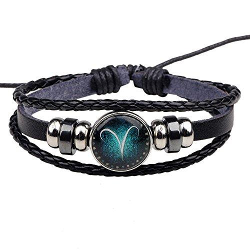 Winter's Secret Twelve Constellations Aries Black Leather Hand Braided Alloy Beaded Adjustable (Marine Hose Rig)