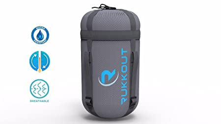 RUKKOUT Lightweight Envelope Sleeping Bag Water Resistant 3 Season Bag Perfect for Camping, Hiking and Backpacking -Ideal for Outdoor Activities with The Included Compression Sack for Portable Use