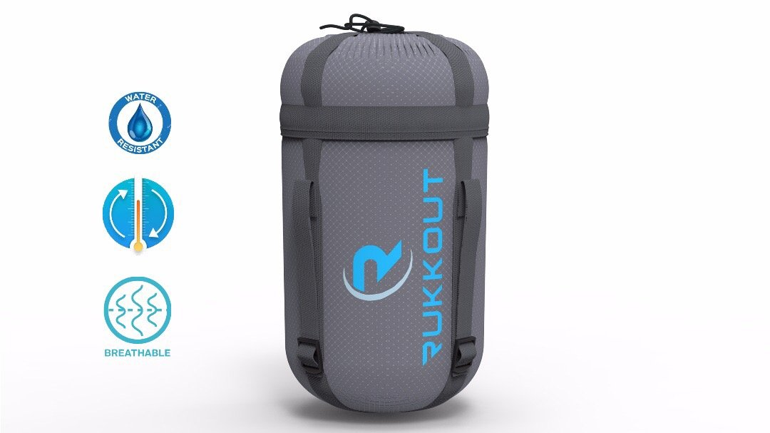 RUKKOUT Lightweight Envelope Sleeping Bag Water Resistant 3 Season Bag Perfect for Camping, Hiking and Backpacking -Ideal for Outdoor Activities with The Included Compression Sack for Portable Use 3