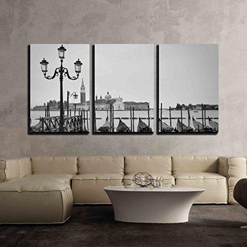Docked Gondolas in Venice x3 Panels
