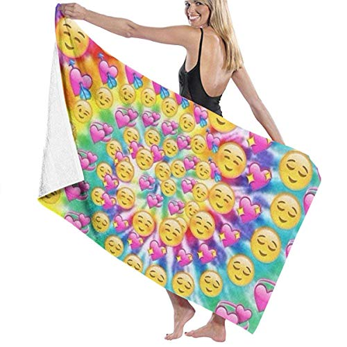 Jchskwn Women's Bath Towel Wrap - Emoticons Heart Soulmate Rotation Travel Waffle Spa Beach Towel Wrap for Girls ()
