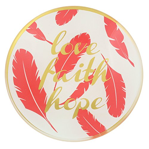 Capelli New York Glass Round Trinket Tray - Love Faith Hope Feather Ivory Combo One Size