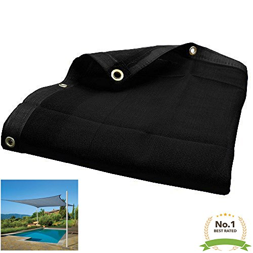 8'X10' (Black) Heavy Duty Mesh Tarp Net Sail Sun Shade Awning and Fence Screen Patio and Canopy Cover by EZ Travel Collection