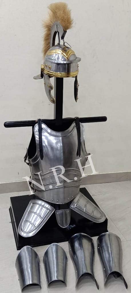 Réplica náutica casco romano medieval con pluma de pelo de caballo, protector de brazos y piernas, juego de chamarra templaria