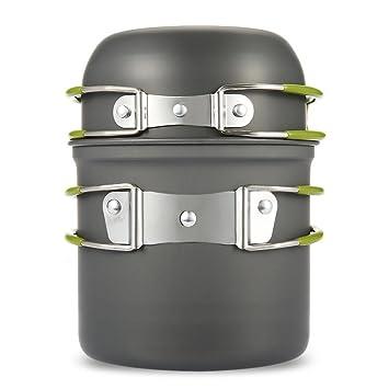 Sunbeter Camping Cookware Mess Kit al aire libre, cazos de camping y sartenes Set 2