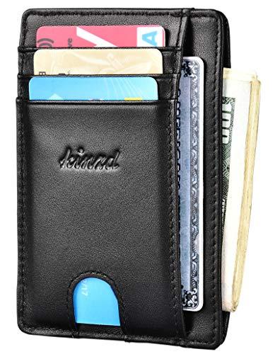 Slim Wallet RFID Front Pocket Wallet Minimalist Secure Thin Credit Card Holder (One Size, A ID Holder Black) ()
