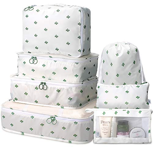 Packing Cubes 7 Pcs Travel Luggage Packing Organizers Set with Toiletry Bag (White cactus)