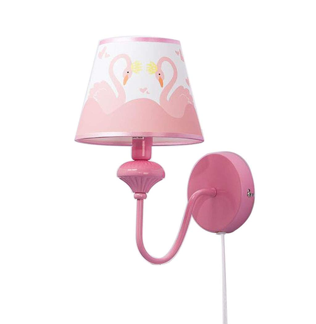 LIN XIAO HAO mayu Children's Plug-in Wall Lamp, E14 LED Living Room, Bedroom, Room Metal + Cloth Lampshade, Decorative Lamps