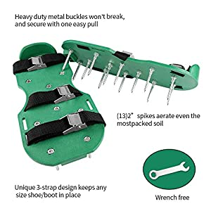 XUZOU Lawn Aerator Spike Shoes – For Effectively Aerating Lawn Soil – Comes with 3 Adjustable Straps with Metallic Buckles – Universal Size that Fits all – For a Greener and Healthier Garden or Yard.