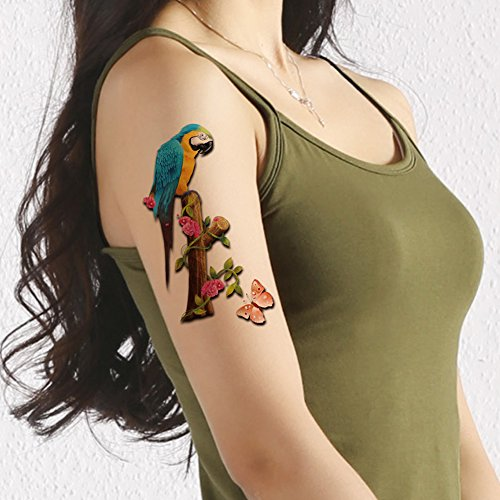 TAFLY Colorful 3D Parrot and Butterfly Tattoos Waterproof Birds Sexy Temporary Tattoos Long Lasting Body Stickers 5 -