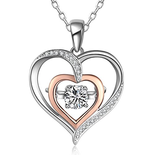 - Caperci Two-Tone 925 Sterling Silver Cubic Zirconia Double Open Heart Pendant Necklace for Women, 18