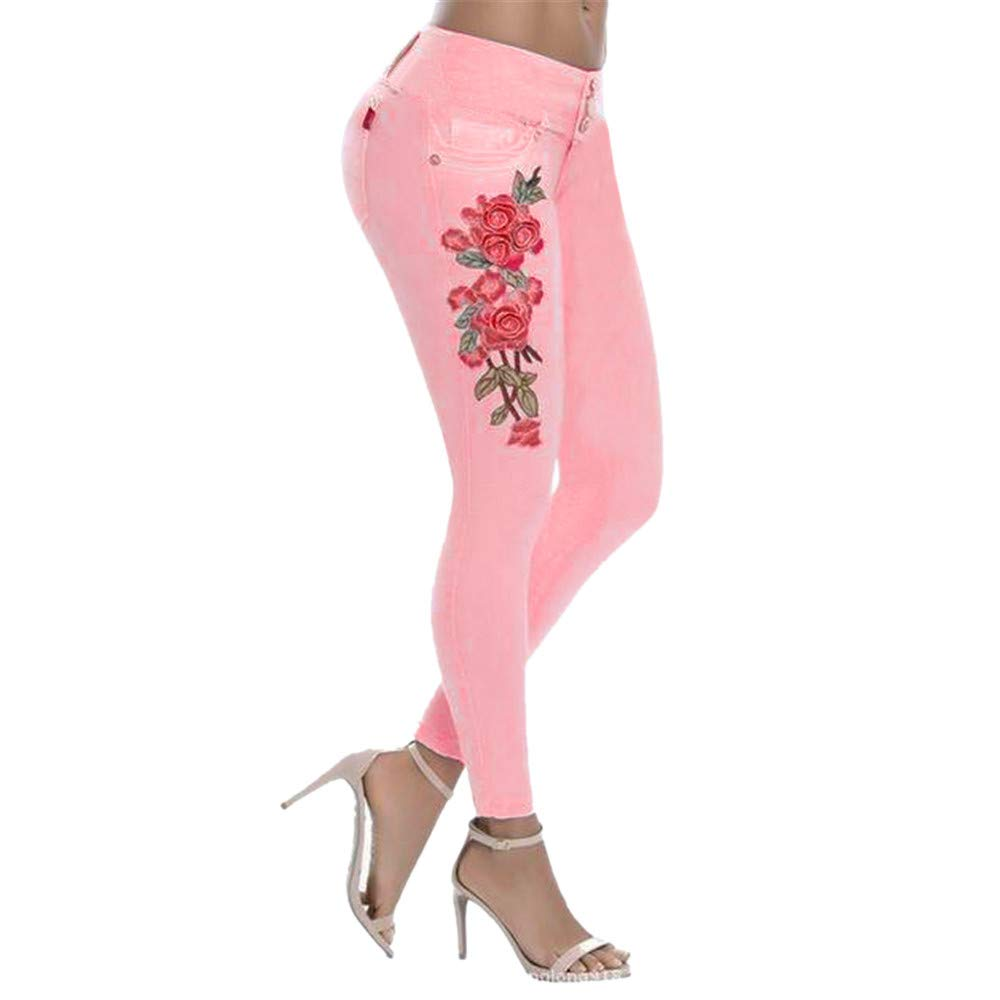 Winsummer Women's Vintage Floral Print High Waist Skinny Denim Pants Stretch Slim Pencil Jeans Trousers Pink