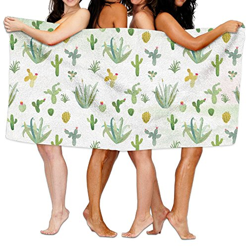 Cactus Wallpaper By Erika Firm Bath Towels Bathroom Body Shower Towel, 31.5