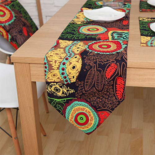 US-ROGEWIN Table Runner Vintage Print No Fade Tea Bed Flag Thick Tablecloth for Banquet Wedding Party Home Decoration -