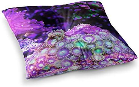 Kess InHouse Liz Perez Coral Reef Purple Black 23 x 23 Square Floor Pillow
