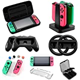 Accessories Kit for Nintendo Switch Games,Including Joy-Con Wheel Grips,Caps ,Carrying Case ,Card Case ,Protective Case,Screen Protector,Controller Charger