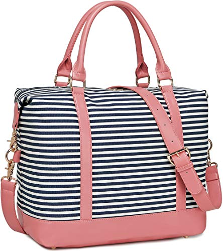 (Women Weekender Bag Overnight Travel Carry-on Tote Duffle Bag for Rolling Luggage with Shoulder Strap (A Pink-blue stripe))