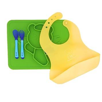 Toddler Silicone Plate SetSpoon u0026 Fork + Bib + Placemat - FULIME BPA Free  sc 1 st  Amazon.com & Toddler Silicone Plate SetSpoon u0026 Fork + Bib + Placemat - FULIME BPA Free Silicone Toddler Tableware Set...