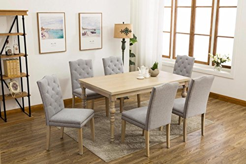 Country Styled 7-piece Dining Table with Carved Legs and Six Buttoned(Tufted) Studded Light Gray/Grey Chairs -  Persian Rugs, TB2002+CH1002 L-Gray