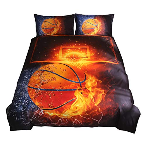 3D Printed Sport Basketball Fire Bedding Set for Kids Boys Black Lightweight Microfiber Duver Cover with Zipper Closure and 2 Pillowcases Full Size