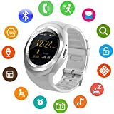 Bluetooth Smart Watch with Touch Screen Unlocked Cell Phone Wath with SIM Card Slot Waterproof Smartwatch for Android phones for Men Women Kids Boys Girls (White)