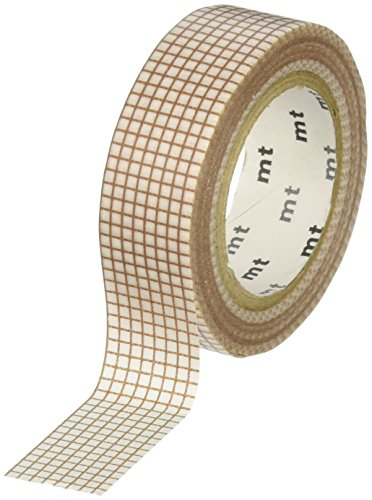 MT Washi Masking Tape, 1P DECO, Grid Milk Mocha , 15mm x 10m (MT01D324)