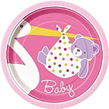 "Custom & Unique {7"" Inch} 8 Count Multi-Pack Set of Medium Size Round Circle Disposable Paper Plates w/ Stork Delivering Baby Boy Bear Wrapped in Blanket ""Pink, Purple & White Colored"""