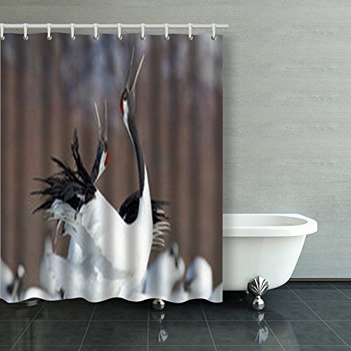 Shower Curtains Two Japanese Cranes Red Crowns Involved Design 60Wx72L Inches Home Decorative Waterproof Polyester Fabric Bathroom Decor Bath Curtain (Crown Crane)