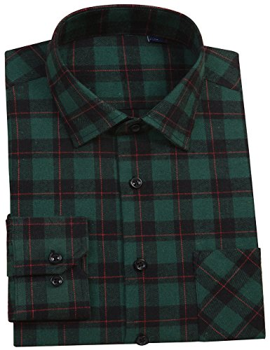 DOKKIA Men's Button Down Buffalo Plaid Checked Long Sleeve Flannel Shirts (Dark Green, Large) - Green Organic Woven Shirt